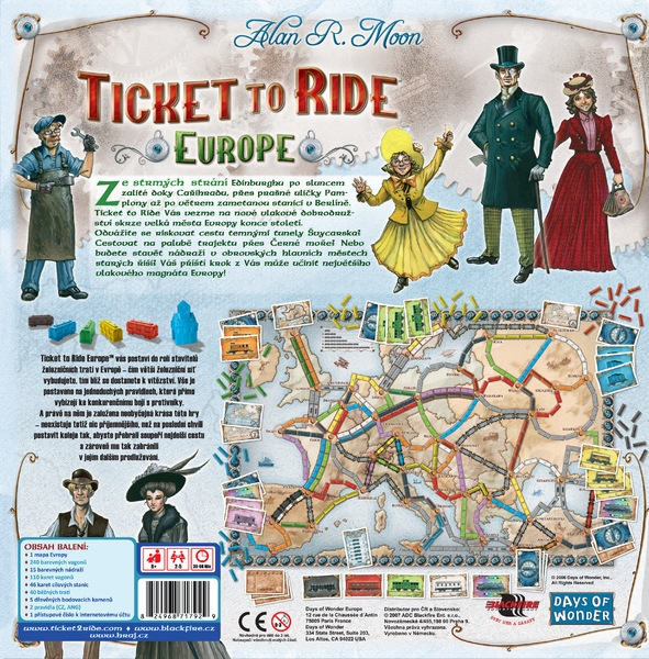 Ticket to Ride - EUROPE - zadní strana